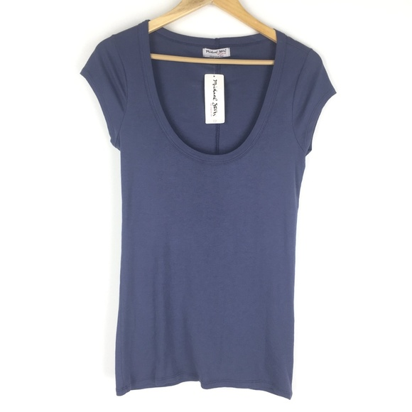Michael Stars Tops - Michael Stars OS Deep Scoop Neck Tee Slate